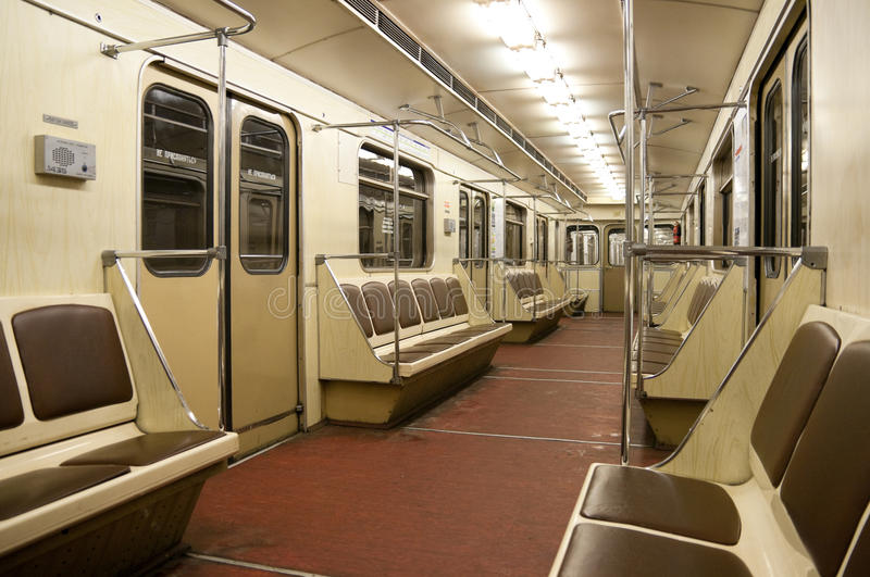 Inside of train in Moscow metro. Inside of empty subway car (train) in Moscow metro stock photography