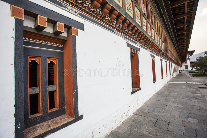 Inside the Trashi Chhoe Dzong in Thimphu, the capital of the Royal Kingdom of Bhutan stock photo