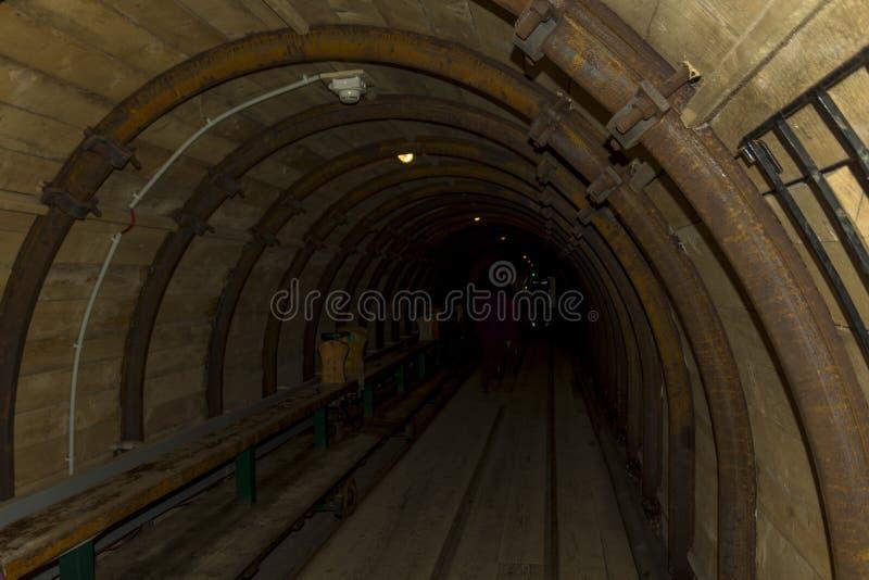 Inside a tunnel in the Hallstatt salt mine royalty free stock image