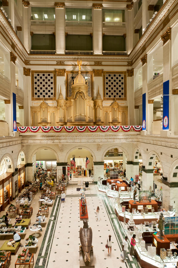Inside of upscale department store in Philadelphia royalty free stock photo