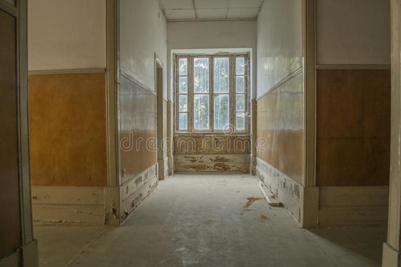 Inside view of abandoned sanatorium in Portugal royalty free stock photo