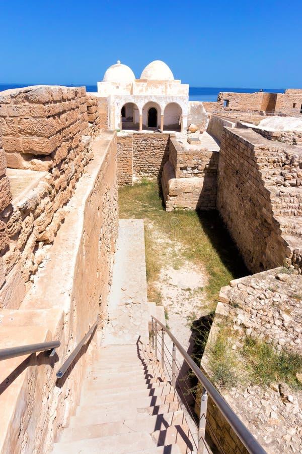 Inside View of the Borj el Kebir Castle Houmt El Souk in Djerba, Tunisia. Indoor of the Borj el Kebir Castle with background of Mediterranean sea in Houmt El royalty free stock photography