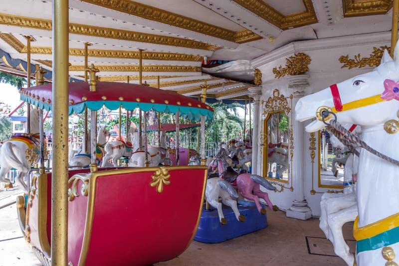 Inside view of Carousel funfair ride, Chennai, India, Jan 29 2017 royalty free stock photo