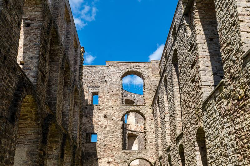 Inside view of the castle ruin Borgholm in Sweden. On a beautiful summer day with sunshine and blue sky royalty free stock photos