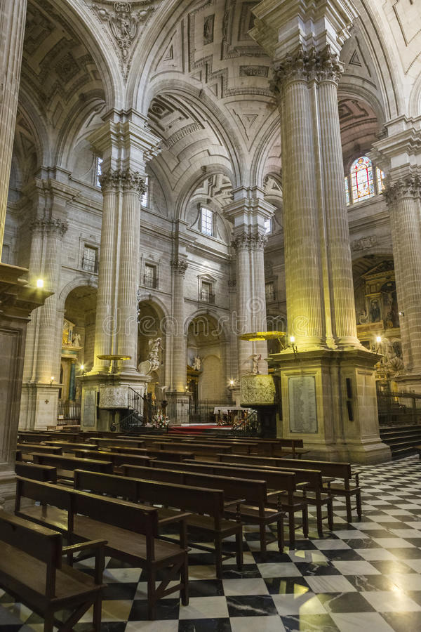 Inside view of the Cathedral in Jaen, also called Assumption of royalty free stock photography