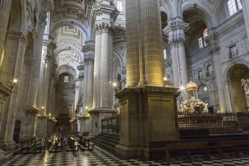 Inside view of the Cathedral in Jaen, also called Assumption of stock photography