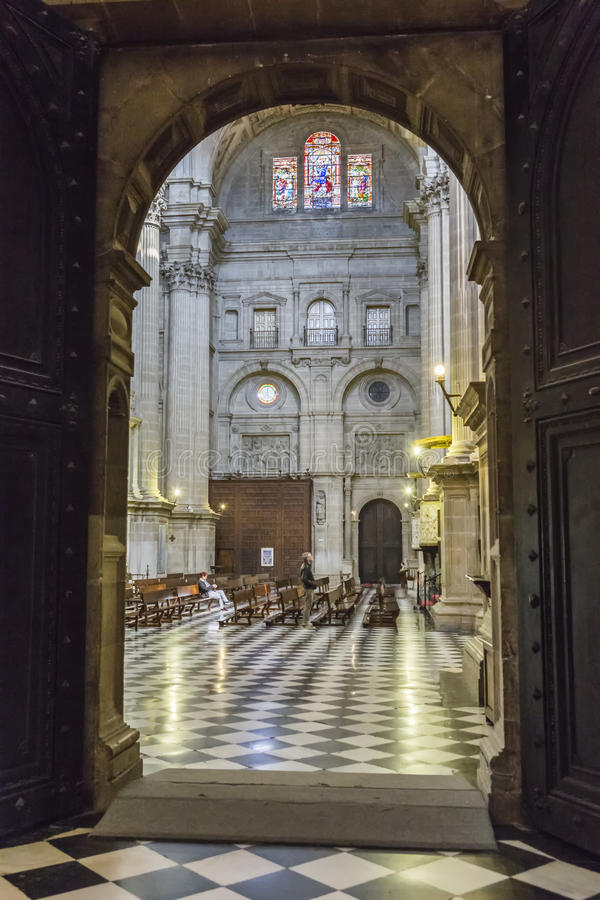 Inside view of the Cathedral in Jaen, also called Assumption royalty free stock photography