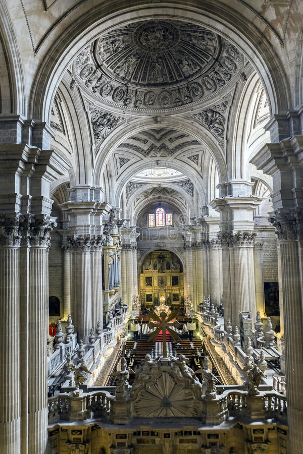 Inside view of the Cathedral in Jaen, also called Assumption of stock image