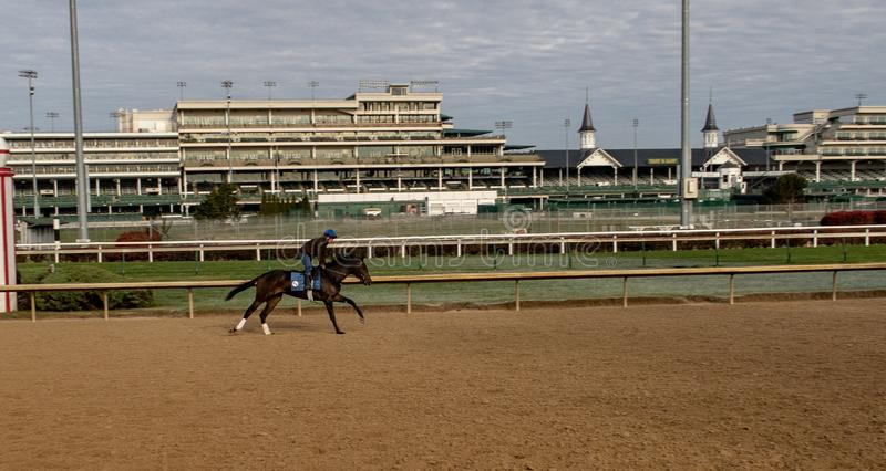 An Inside View of Churchill Downs. A view of the track at Churchill Downs in Louisville, Kentucky stock image