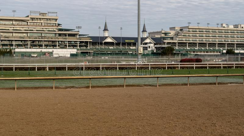 An Inside View of Churchill Downs. A view of the track at Churchill Downs in Louisville, Kentucky stock images