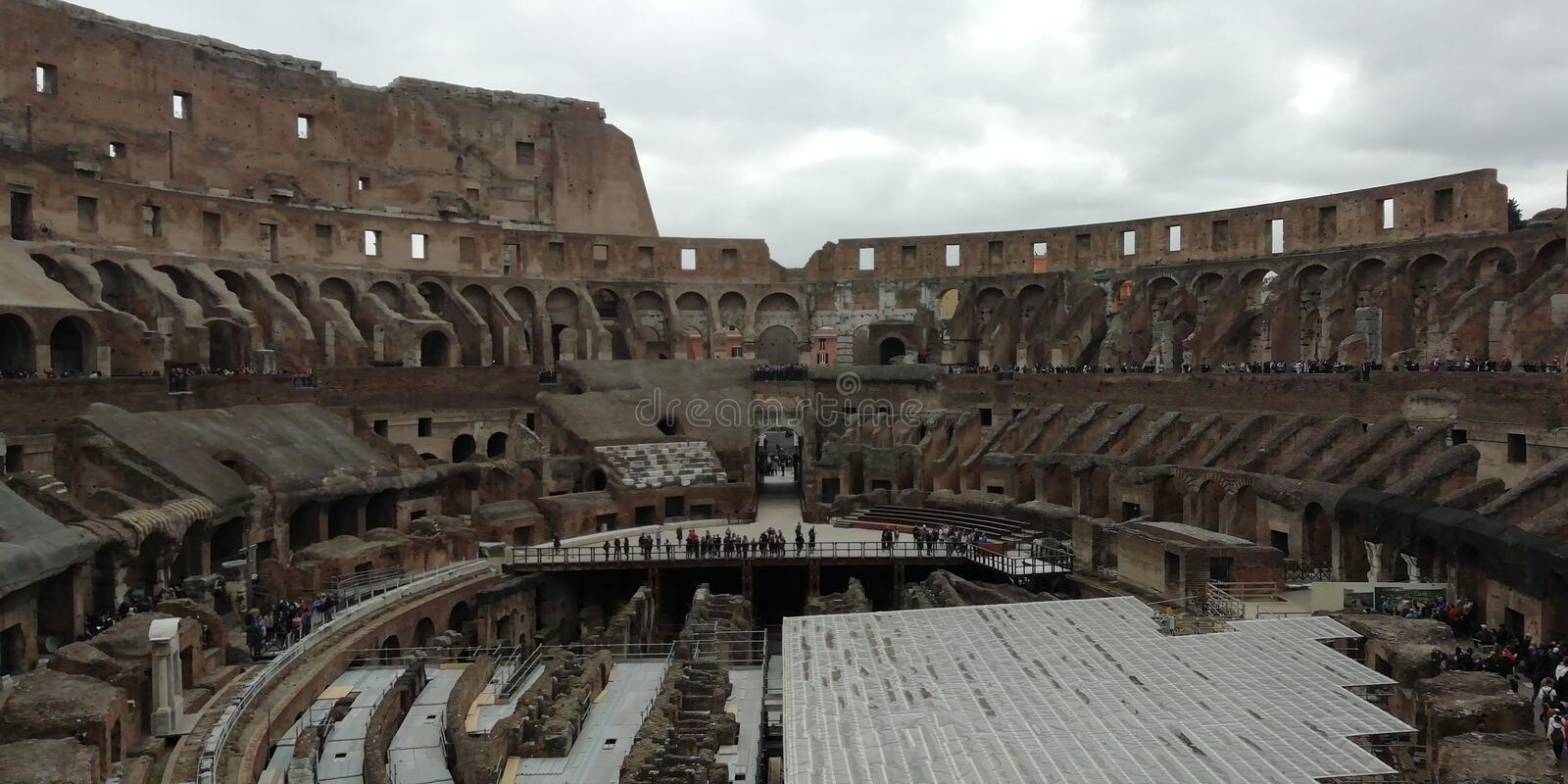 Inside view of the Colosseum, Rome, Italy stock photo