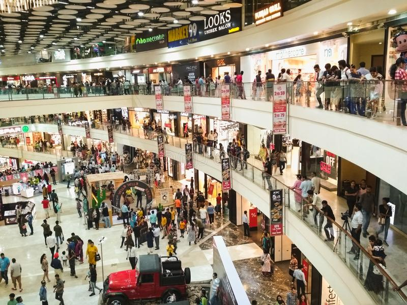 Inside view of Crowded mall royalty free stock image