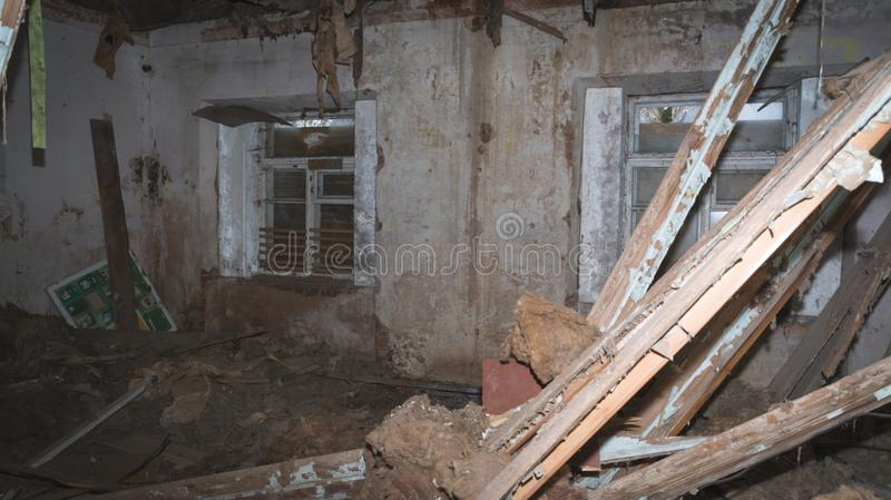 Inside view of a deserted run down building stock photo