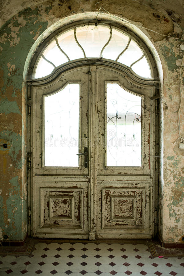 Inside view of a deserted run down building royalty free stock photography