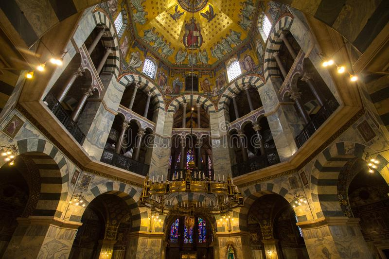 Inside view of dome Aachener Dom, Aachen Cathedral the Cathedral of Aix-la-Chapelle,. Inside view of dome Aachener Dom.  Roman Catholic church in Aachen, western royalty free stock photography