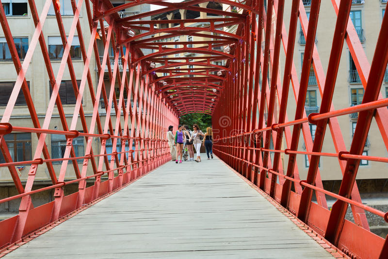 Inside view of Eiffel bridge over Onyar River stock photo