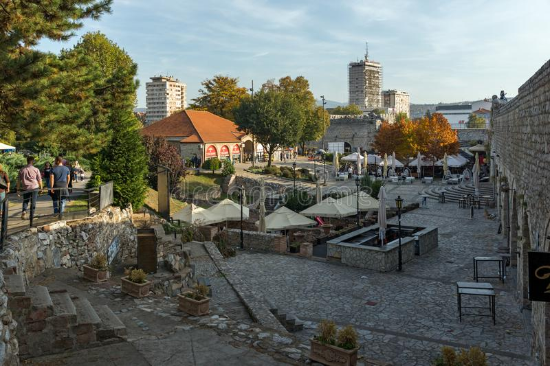 Inside view of Fortress and panorama to City of Nis, Serbia stock image