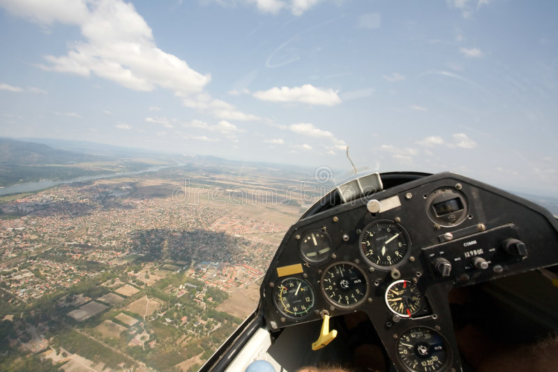 Inside view in a glider stock photos