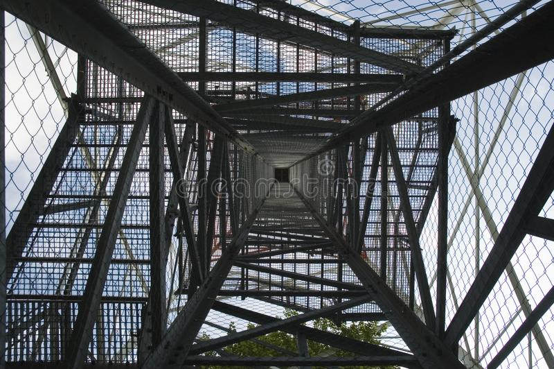 Inside view of a lattice tower. Lookout tower built in lattice construction, inner view from bottom to top stock image