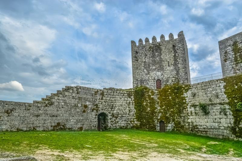 Inside view of medieval Montalegre castle, dramatic sky as background. In Montalegre, Portugal stock photography