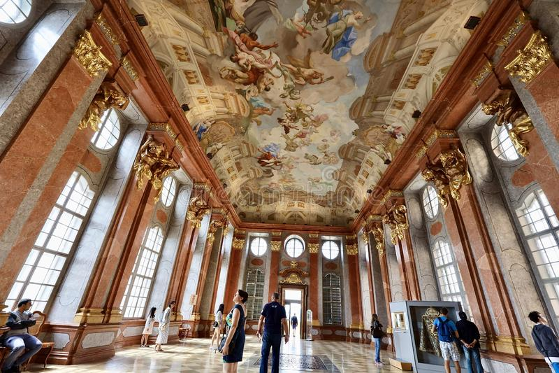 Inside view of Melk abbey,Austria stock image