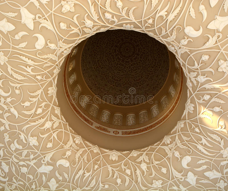 Inside view of a mosque dome closeup royalty free stock photography