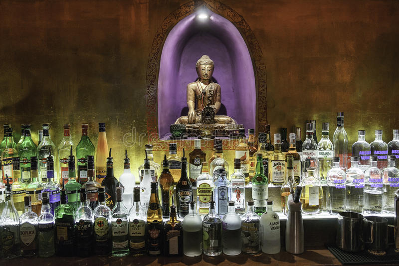 Inside view of a pub. Inside view of a Buddha Bar . popular pub in the center of City Krakow , Poland royalty free stock photos