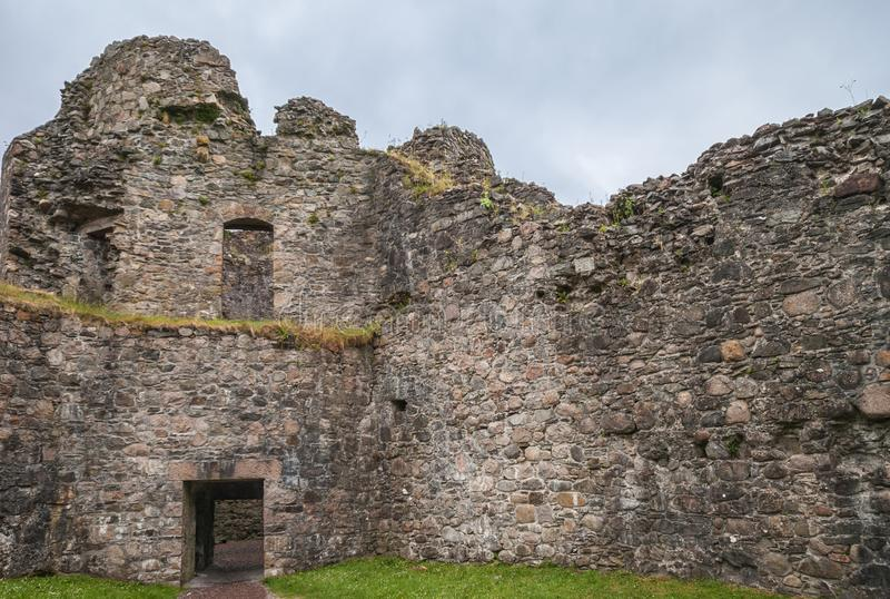 Inside view on rampart corner of Inverlochy Castle, Scotland. royalty free stock photography