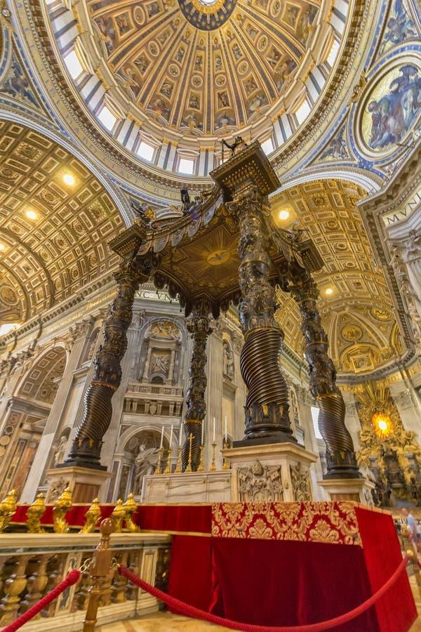 Inside view of Saint Peter`s Basilica. stock photos