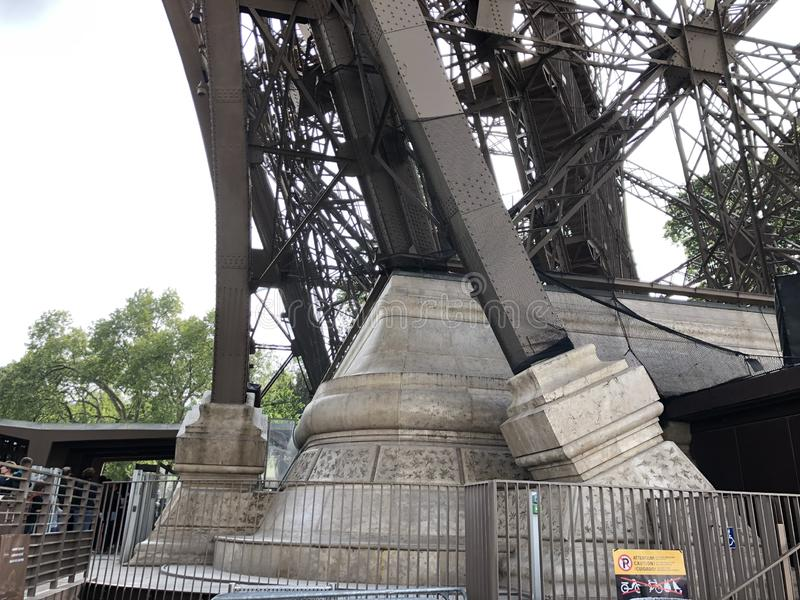Inside view of the structure at the base of the Eiffel Tower in Paris royalty free stock images