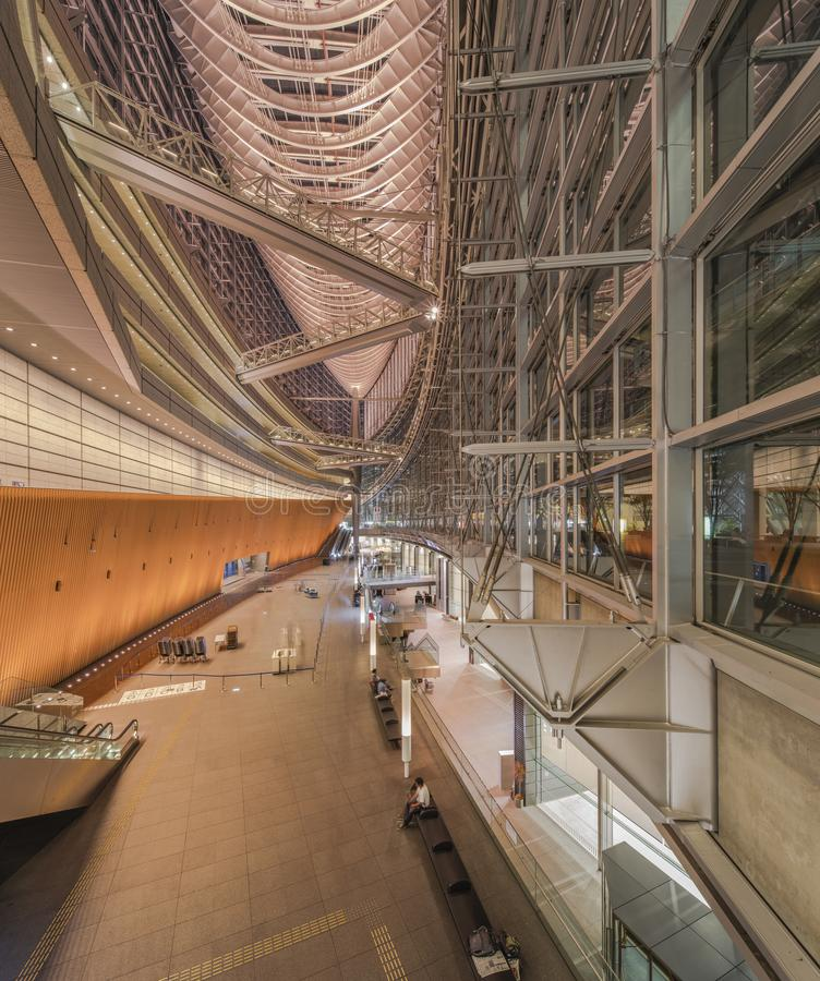 Inside view of Tokyo International Forum built in 1996 by Uruguayan architect Rafael Viñoly near Yurakucho station. It consists. Of 14 floors including 3 in royalty free stock images