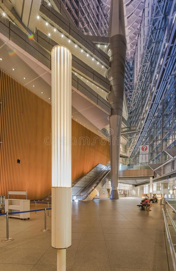 Inside view of Tokyo International Forum built in 1996 by Uruguayan architect Rafael Viñoly near Yurakucho station. It consists. Of 14 floors including 3 in stock photography