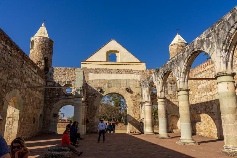 Inside walls of Cuilapam covent , Mexico. Cuilapam covent, in Oaxaca area, was built in 1555 by Dominican priests to evangelize Indians in the area royalty free stock photo