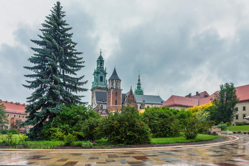 Inside of the Wawel royal castle. Inside scenic view of the territory of Wawel royal castle and cathedral in Krakow, Poland royalty free stock photo