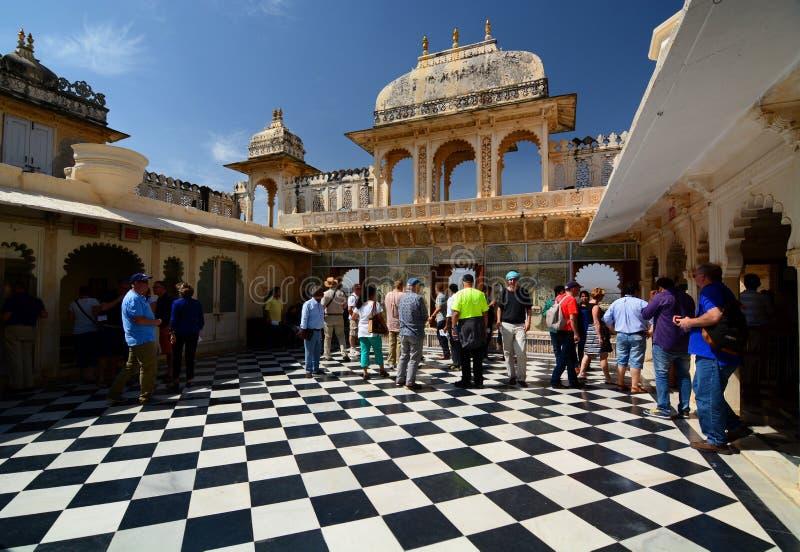 Inside widok Miasto Palace Udaipur Rajasthan indu obraz royalty free