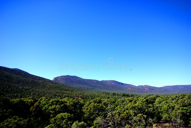 Inside Wilpena Pound, Flinders Ranges. Part of the iconic Wilpena Pound in South Australia's Flinders Ranges, photographed from a ridge looking inside the pound stock photos