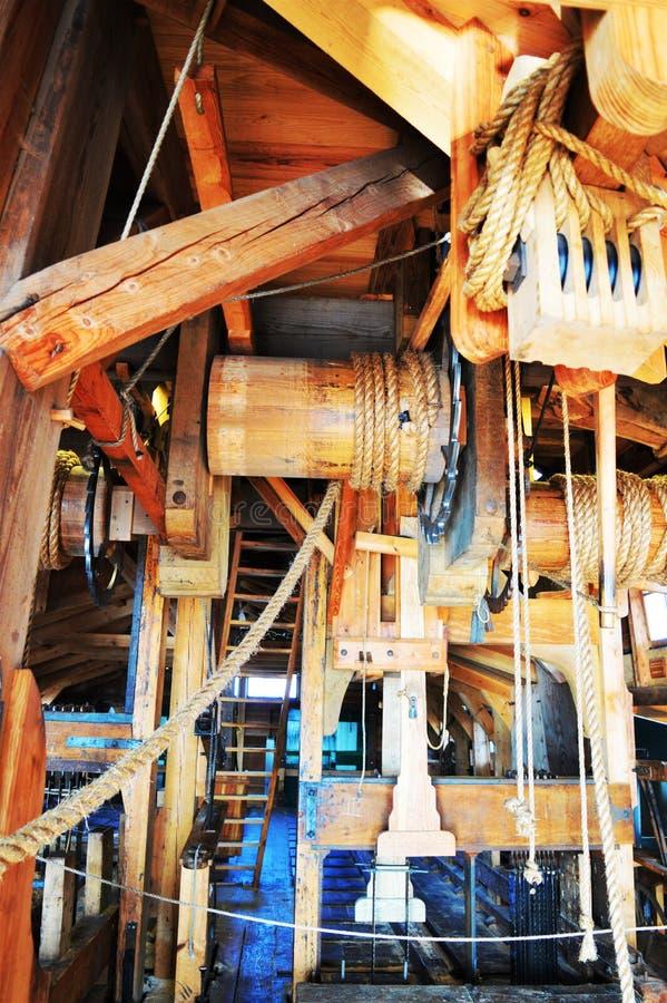 Inside a windmill stock photo