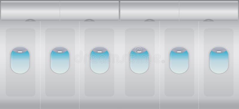 Inside Windows of the white airplane. Vector illustration stock illustration