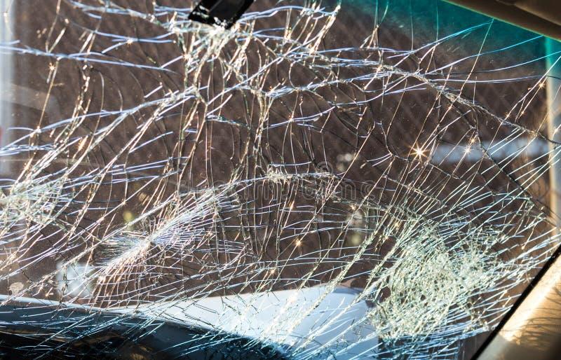 Inside windshield cracks. stock images