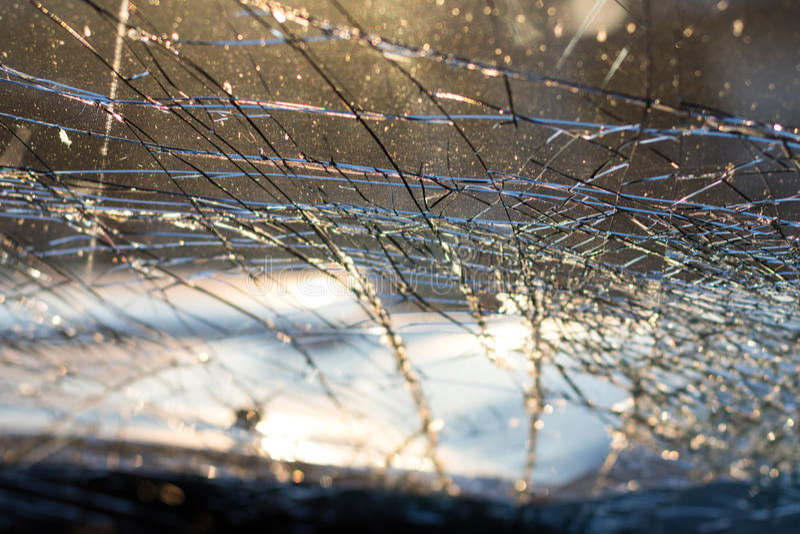 Inside windshield cracks. stock photos