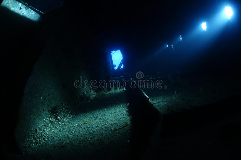 Inside the wreck of the Ghiannis D in the Red Sea, Egypt. Penetration of the wreck of the Ghiannis D. Cathedral light inside the wreck - natural light stock image