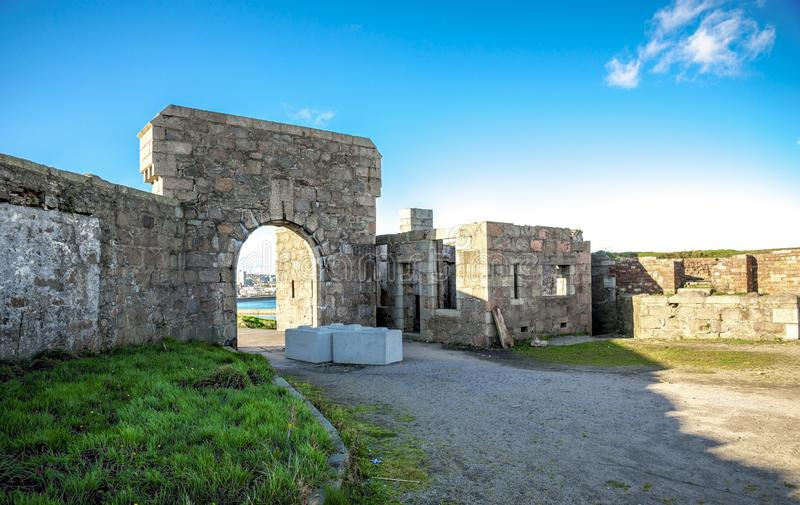 Inside yard of historical Torry Battery ruins at Aberdeen, Scotland. November 2017 royalty free stock image
