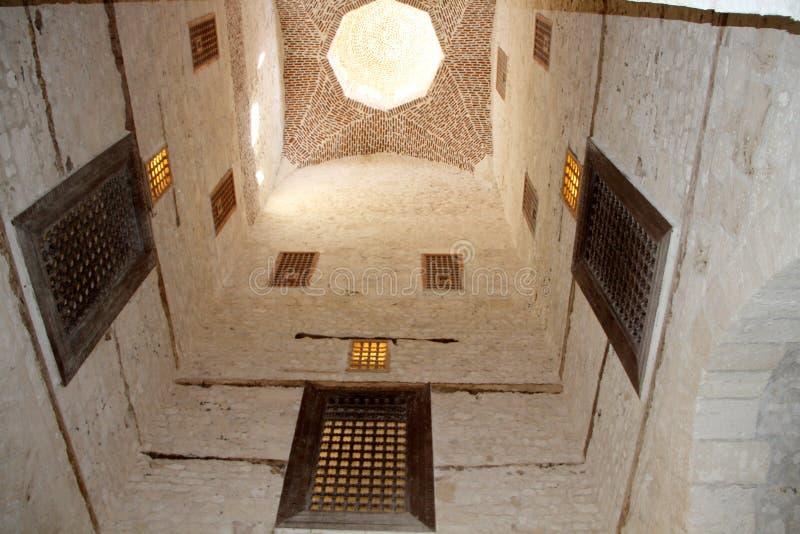 InsideCitadel Qaid zatoka Aleksandria, Egipt obraz royalty free