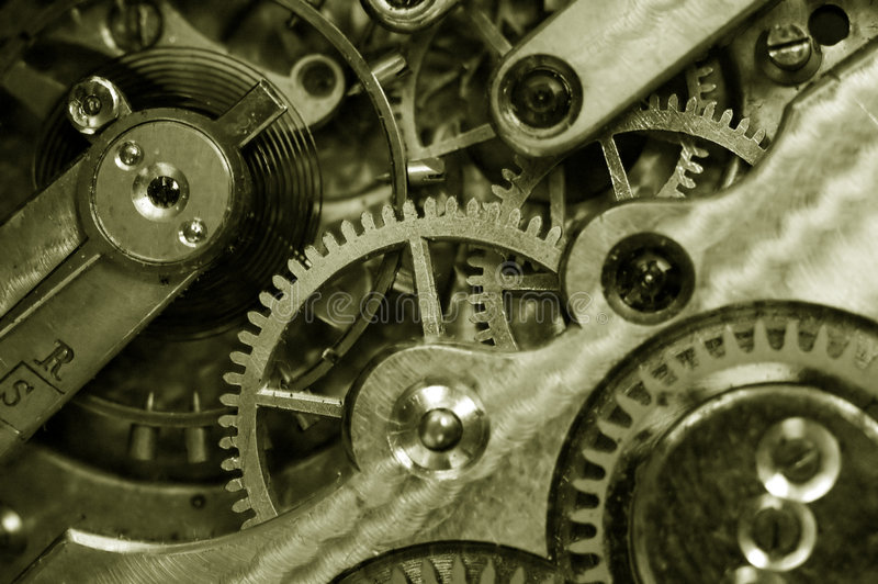 Insideof an old pocket watch royalty free stock image