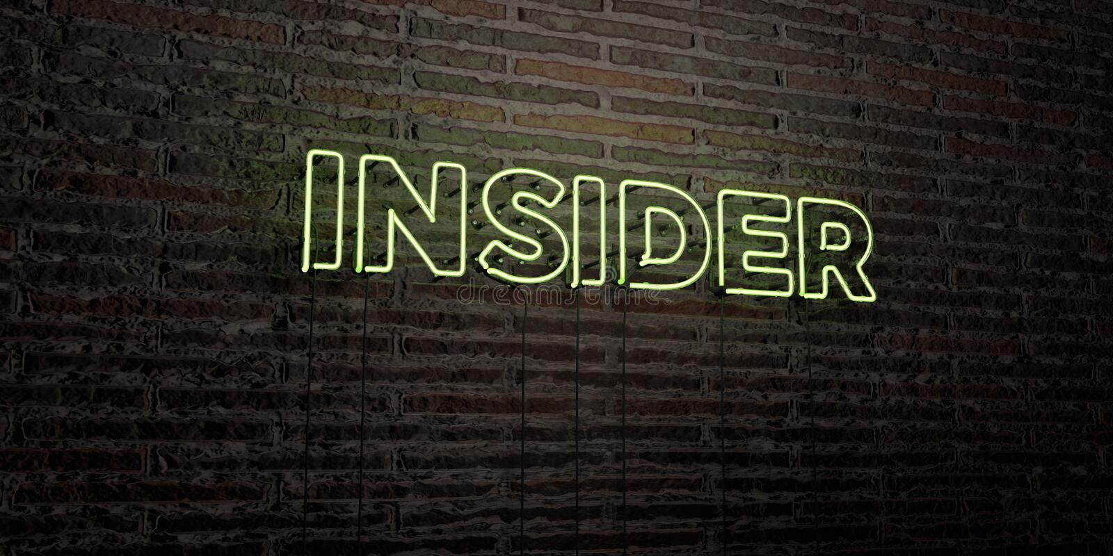 INSIDER -Realistic Neon Sign on Brick Wall background - 3D rendered royalty free stock image vector illustration
