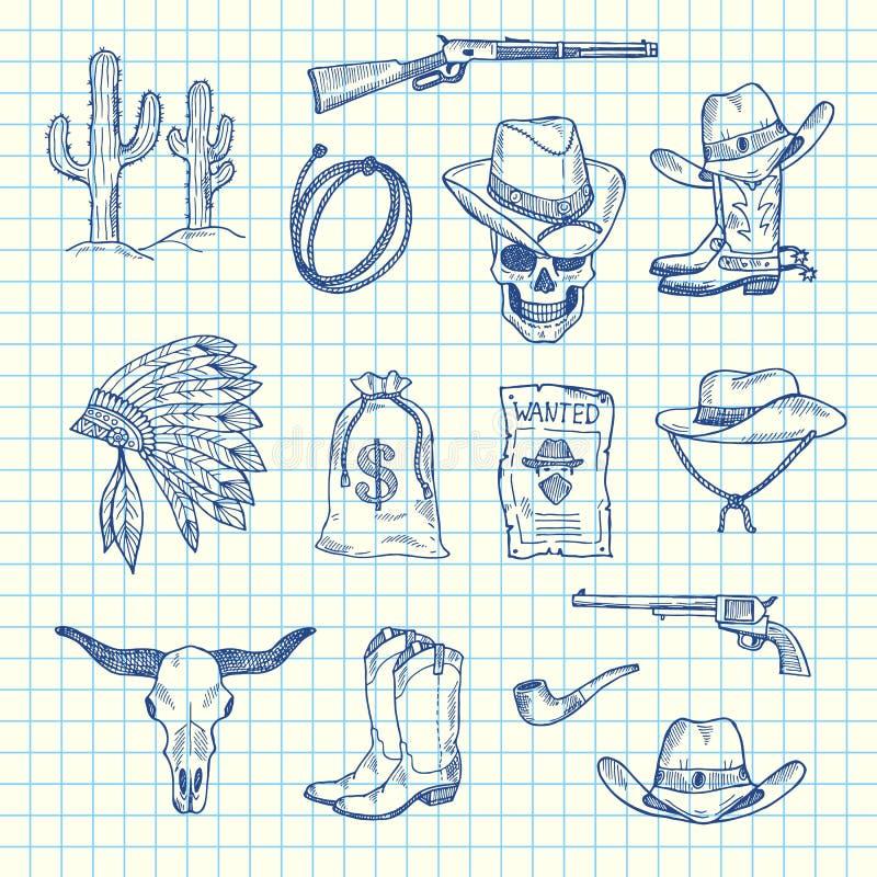 Insieme ad ovest selvaggio disegnato a mano del cowboy di vettore illustrazione di stock