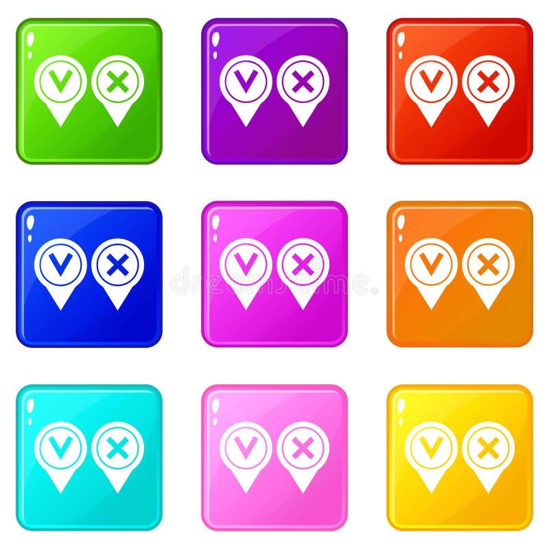 Insieme affermativo e negativo del segno di spunta delle icone 9 illustrazione di stock