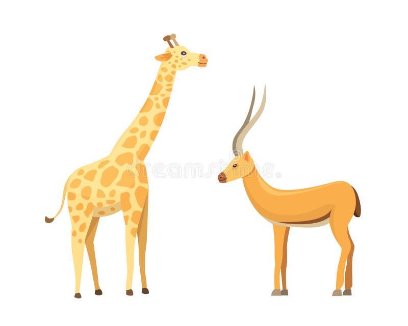 Insieme africano di vettore del fumetto degli animali Antilope e giraffa royalty illustrazione gratis
