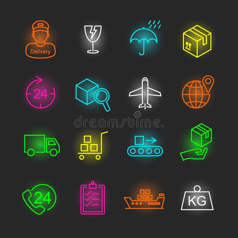 Insieme al neon logistico dell'icona royalty illustrazione gratis