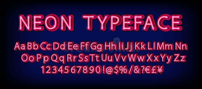 Insieme al neon rosso della serie di caratteri illustrazione vettoriale